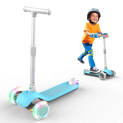 MiniBoss Kick Scooter for Kids, 3 Wheels Kids Scooter with Fashional Lights, Folding Kids Scooter, Flexible Scooter for Kids with Wide Deck and Adjustable Ergonomic Hand Bar, for 2 to 12 Years Kids