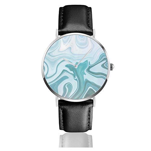 Armbanduhr mit blauem Armband aus Achat, leger, klassischer Edelstahl, Quarz, Business-Armbanduhr