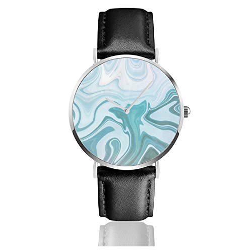 Armbanduhr mit blauem Lederarmband, leger, klassischer Edelstahl, Quarzuhrwerk, Business Uhr