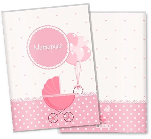 Moederpashoes/Moederkind paspoorthoes 3-delig roze hartje cadeau-idee moederpas hoes personaliseerbaar met naam roze hartje Deutschland Mutterpass Kinderwagen