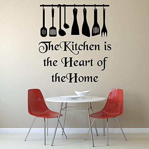 Etiqueta engomada del arte de la pared del vinilo La cocina es el corazón del hogar calcomanía mural decoración del hogar restaurante calcomanía creativa