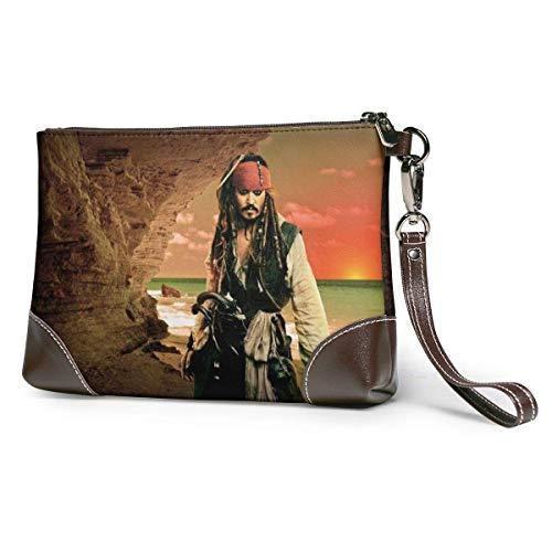 BFDX Fluch der Karibik Leder Clutch Geldbörsen Tasche Telefonkarte Brieftaschen Riemen Reißverschluss Weiches Leder Wristlet Clutch Taschen Für Frauen Männer Mit Schlitzen Echte Rindsleder Clutches
