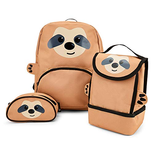 Zappi Co Childrens School Sloth Backpack Set Contains Backpack, Lunch Box and Pencil Case Boys Girls Fun Wildlife Rucksack (Sloth)