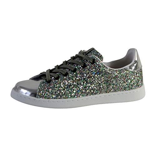 victoria 112558-WOMEN Tenis Sneaker Glitter Flatform Unisex Bambino Agua 41