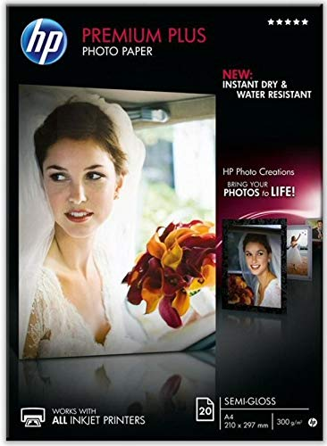 HP CR673A Premium Plus Semi-Gloss Photo Papier 1er-Pack 300 g / m2 A4, 20 Blatt, weiß