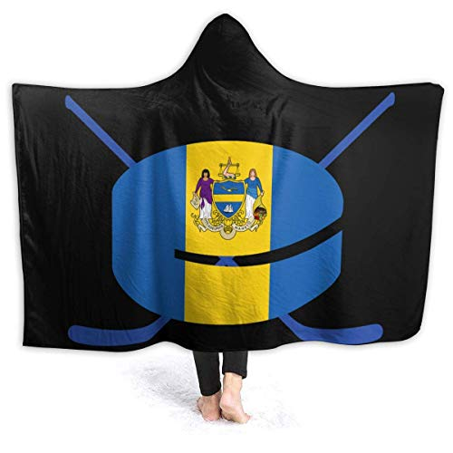 Searster$ Hooded Blanket Manta con Capucha de Hockey de la Bandera de Filadelfia Niños Adultos Manta de Forro Polar Sherpa para sofá Cama Sofá Viaje Camping