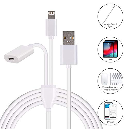 Charger Adapter for Apple Pencil Adapter Compatible with iPad Pro Pencil Accessories Male to Female Flexible Connector 2in1 Charging Cable 150CM