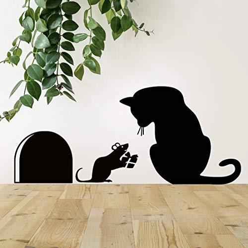 Pegatina de pared para regalo de ratón, diseño de gato