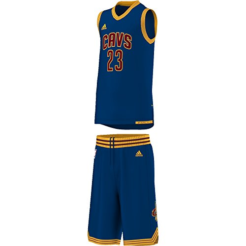 adidas Jungen Cleveland Cavaliers Lebron James Trikot + Shorts, Navy Blue/Yellow, 140