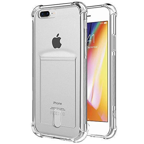 ANHONG iPhone 7 Plus / 8 Plus Clear Case with Card Holder, [Slim Fit][Wireless Charger Compatible] Protective Soft TPU Shock-Absorbing Bumper Case with Soft Screen Protector