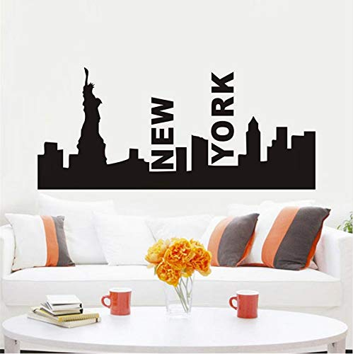 Ponana 3D City Landscape New York Skyline Art Wall Sticker Decoration Vinyl Removable Home Decor Diy Waterproof Wallpaper Decal 96X42Cm