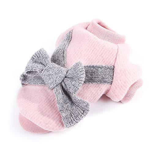 Linda mascota cachorro gato cálido jersey suéter arco prendas de punto abrigo ropa ropa, suéter de manga de invierno Franela perro pequeño Chihuahua Yorkshire con capucha ropa chaqueta del perro