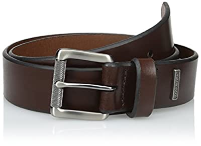 Dickies Men's Leather Classic Casual Belt, Brown, Large (38-40)