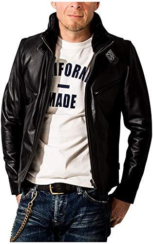 (リューグーレザーズ) Liugoo Leathers シングルライダース 襟ボアハイネックシングルライダースジャケット メンズ WNG01A Lサイズ ブラック