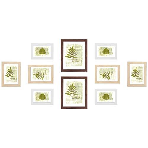 SONGMICS Bilderrahmen 10er Set, für 2 Fotos in 20 x 25 cm (8 x 10 Zoll), 4 Fotos in 13 x 18 cm (5 x 7 Zoll), 4 Fotos in 10 x 15 cm (4 x 6 Zoll), MDF, Glas, braun, naturfarben, weiß RPF310N01