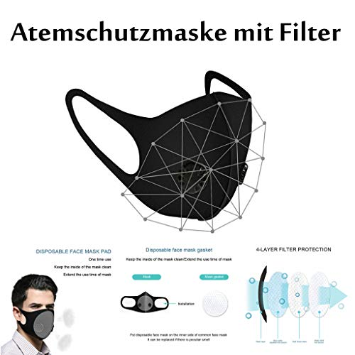 Atemschutzmaske Schutzmaske - 4 Stück Mundschutz Masken Staubmasken Atemschutz Atmungsaktive Atemschutzmasken - Premium Vliesstoff Atemmaske Luftreinigung Maske (Mehrfarbig)