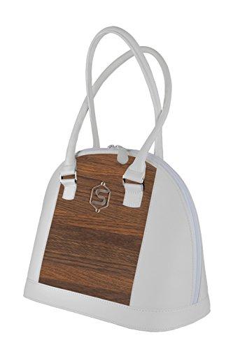 Sebastian Sturm Bolso de mano ABBEY   Fabricado con madera auténtica tipo roble ahumado y cuero de ternera   Mujer Cartera Nude Negro Blanco   By