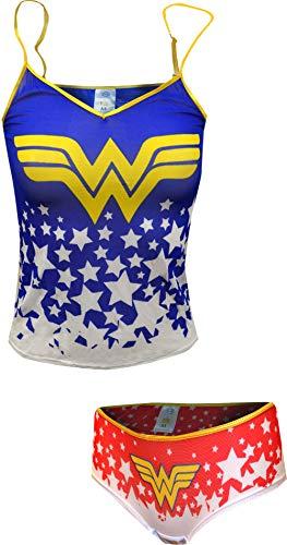 Wonder Woman Cami and Hipster Mesh Sleep Set - L Blue