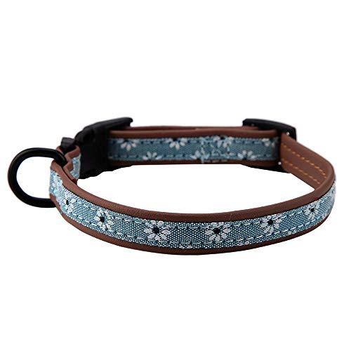 Pssopp Pet Klassisches Hundehalsband Hundehalsbänder mit Blumenmuster weiches PU Hundehalsband Schnellverschluss Halsband Verstellbares Hundehalsbänder für Hunde und Welpen Katzen(S)