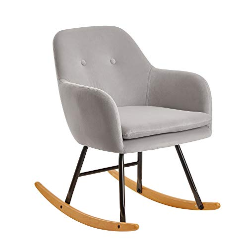 FineBuy Schaukelstuhl Hellgrau 71x76x70cm Design Relaxsessel Samt/Holz | Schwingsessel mit Gestell | Polster Relaxstuhl Schaukelsessel | Moderner Schwingstuhl Sessel