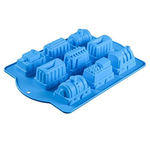 Allforhome Moule à gâteau en silicone 9 cavités Motif trains