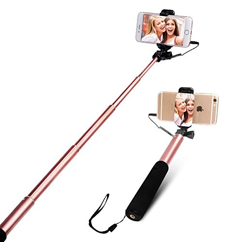 Bastone Selfie [No Bluetooth] allungabile Yarrashop selfie Sticks con Vastsean specchio per iPhone 7, iPhone 6/6 Plus, iPhone 6S / 6S Plus, iPhone 5S / 5, Samsung Galaxy S6 / S6 Edge / S7 / S7 Edge etc