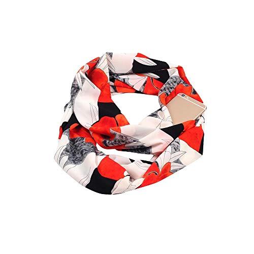 Doublehero Damen Loop Schal Blume Gedruckt, Herbst Winter Warme Mode Reißverschluss Secret Hidden Tasche Lange Schal Dünner Loop Halstuch Sportwear Bunt Mädchen Casual Leichter Schal Outdoor (B)
