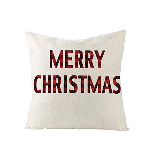 Qishi Christmas throw pillow cover 18X18 inch beige and red plaid cushion cover for living room