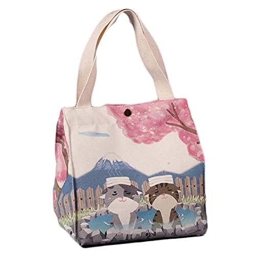 Cute Cats Sakura Canvas Lunch Box Bento Bag Botón portátil Gran Capacidad Lunch Tote Bag