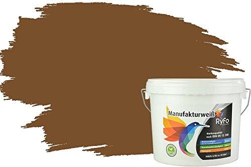 RyFo Colors Bunte Wandfarbe Manufakturweiß Kaffeebraun 6l - weitere Braun Farbtöne und Größen erhältlich, Deckkraft Klasse 1, Nassabrieb Klasse 1