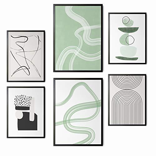 Láminas Decorativas para enmarcar. Cuadros de Pared en salón, Comedor, habitación, Dormitorio, Pasillo. Set de 6 Posters Modernos DIN A3 y DIN A4. Sin Marco. Arte Abstracto.