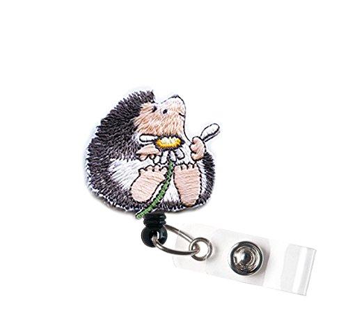 LOVEKITTY - Cute Boy Hedgehog Embroidered Felt Alligator Swivel Clip Retractable ID Badge ReelName BadgesID Badge HolderDoctor Nursing BadgeTeacher Nurse Great Gift