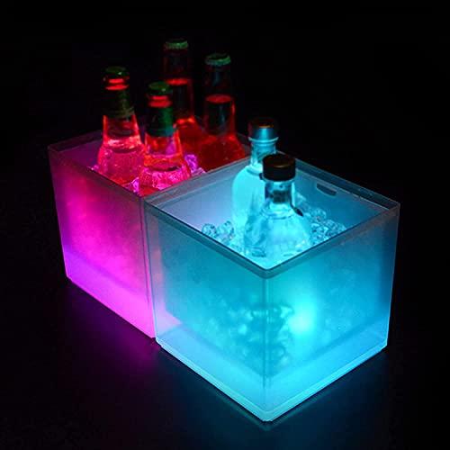 Mr.LQ Cubos De Hielo Cuadrados LED, Cubos De Hielo De Vino De Gran Capacidad De 3,5 L, Contenedores De Bebidas para Cubos De Hielo De Vino De Champán a Prueba De Agua