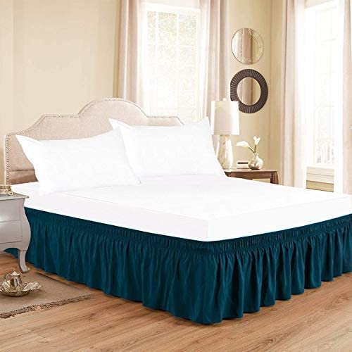 Kamas Wrap Around Bed Skirts Elastic Ruffles Twin Max 75% OFF 100% Dust Teal Tucson Mall