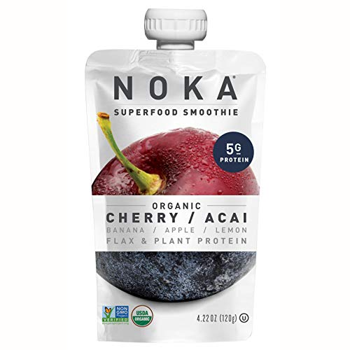 NOKA Superfood Pouches | 100% Organic Fruit And Veggie Smoothie Squeeze Packs | Non GMO, Gluten Free, Vegan, 5g Plant Protein (Cherry / Acai, Pack of 12)