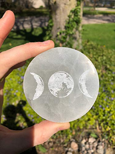 CrystalsAhoy 3' Moonphase Etched Selenite Plate, Selenite Charging Plate, Selenite Slab, Mooncycle, Moon Phases