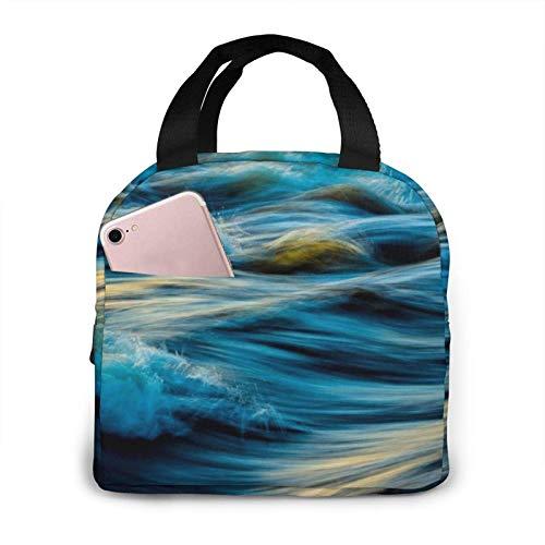 N\A Dawn Ocean Waves Impreso Portátil Almuerzo Bolsa De Almuerzo Bolsa De Almuerzo Enfriador Aislado Bolsa Térmica Reutilizable Bolsos De Mano para Mujer Trabajo Picnic O Fiambrera De Viaje