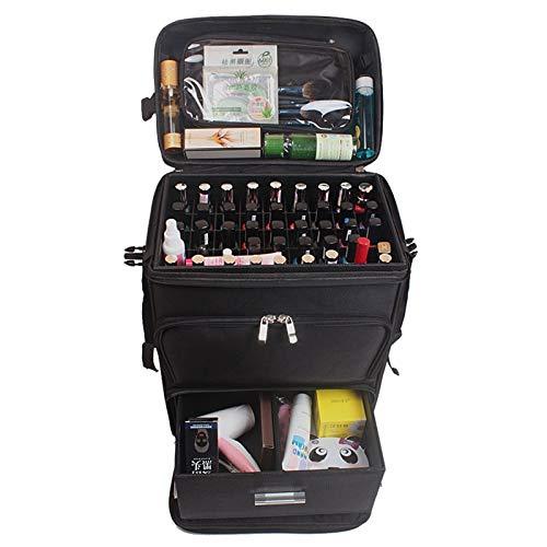 Multifunctioneel, voor trolley, cosmetica, rolling Luggage Bag On Wheels, dames nails gereedschapskist, make-up, schoonheid, tatoeage, salons, koffer Zwart
