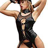WANLOVE Sexy Police Woman Cosplay Costume Adult Woman Erotic Fantasies Cop Costumes Black Latex Sex Uniform for Role-Playing Games-Black_S-M