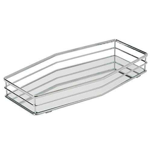Home Details Mirrored Vanity Tray for Dresser, Perfume, Desk, Cosmetic & Jewelry Organizer, Decorative, Chrome