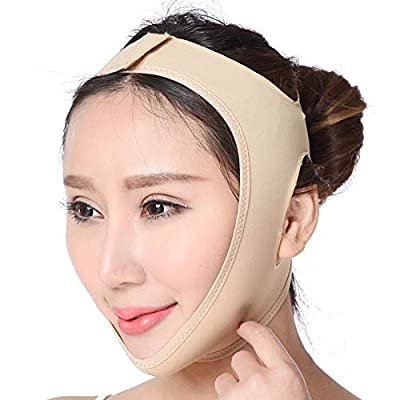 Face Slimming Belt, Smooth Breathable Adjustable Thin Face Double Chin Reducer Remover Strap, Create V-Line Face Shapes Neck Compression Cheek Lift Up Anti Wrinkle Lifting Bandage for Women & Girls from lesgos