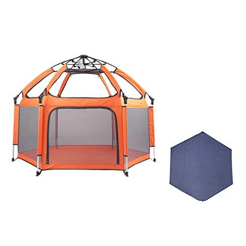 CHULQY babyhek – kindveilige omheining opvouwbaar en compact beste kinderhek met uv-luifel geschikt voor gezinnen, reizen, parken of strengen (kleur: oranje)