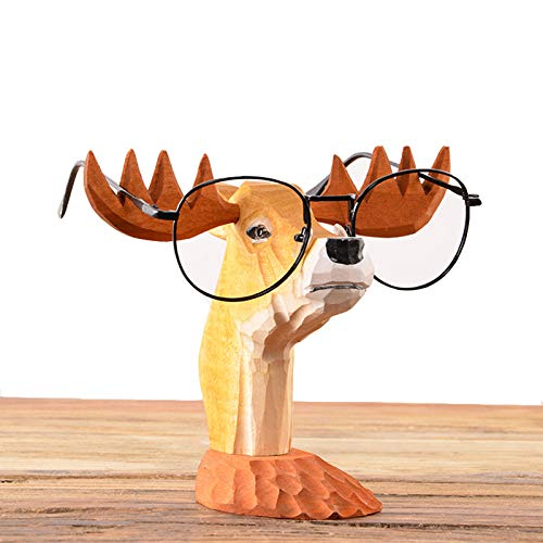 YNNG Wooden Sunglasses Retainers, Antlers Glasses Display Stand Handmade Crafts Eyeglass Holder Funny Table Decor Christmas Festival Gift