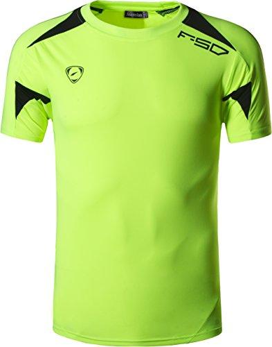 jeansian Tshirt Sportiva da Uomo T-Shirt Tee Shirt Dry Fit Manica Corta Golf Tennis Bowling LSL3209 GreenYellow M