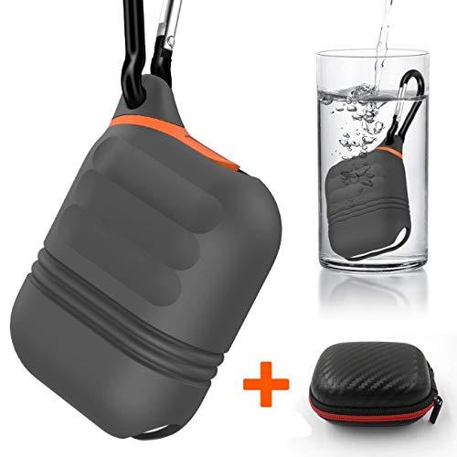 Moretek Cover Compatible with Airpods, Waterproof Custodia Impermeabile Corpo Completo per AirPods con Custodia di Cicarica (Grey 2)