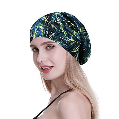 Sleeping Cap,Satin Silk Liner Long Hair Women Braids Soft Bamboo Viscose Blue Camo