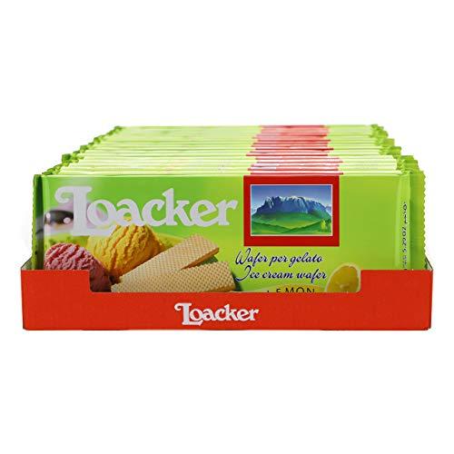 Loacker - Cialde Wafer Lemon per Gelato e Sorbetto - con Crema a Base di Oli Essenziali di Limoni di Sicilia e Vero Succo di Limone - Merenda, Snack e Dessert - 18 Confezioni da 21 Cialde