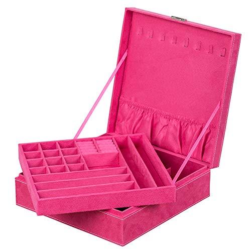 Alsona Caja de Almacenamiento de joyería de Gran Capacidad de Doble Capa portátil Exhibición de Caja de joyería Organizador de joyería extraíble(Rosa roja)