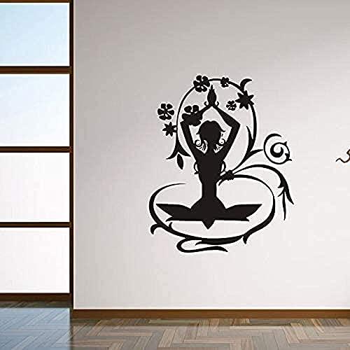 jjyyy Papel Pintado de Yoga de Hadas de Flores Pegatinas de Pared de Moda Sala de Estar decoración del hogar Vinilo calcomanía Dormitorio Chica póster Mural 42 * 51Cm
