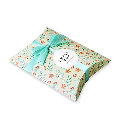 XIANRENGE 20pcs Boda Favores Almohada Caja de Dulces Bolsa Pequeña Flor Bolsa de Regalo Carruaje Hueco Favores Caja de Regalos Pastel Suministros para Fiestas de Navidad Verde